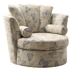Buy Homelegance Aurelia Swivel Accent Chair w/ 2 Pillows in Butterfly Fabric on sale online