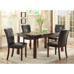 Buy Homelegance Belvedere 5 Piece 60x36 Dining Room Set w/Faux Marble in Espresso on sale online