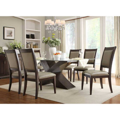 Buy Homelegance Bering 7 Piece 72x42 Dining Room Set w/ X Base Table on sale online