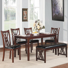 Buy Homelegance Brooksville 6 Piece 60x36 Dining Room Set w/ Bench in Warm Cherry on sale online