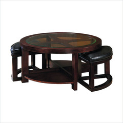 Buy Homelegance Brussel 40x40 Round Cocktail Table w/ 2 Ottomans and 2 Shelves on sale online