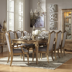 Buy Homelegance Chambord 9 Piece 76x44 Dining Room Set in Antique Gold on sale online