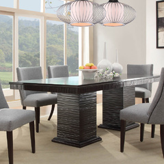 Buy Homelegance Chicago 74x42 Double Pedestal Dining Table in Deep Espresso on sale online