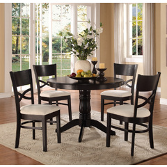 Buy Homelegance Clancy 5 Piece 42x42 Round Pedestal Dinette Set in Black on sale online