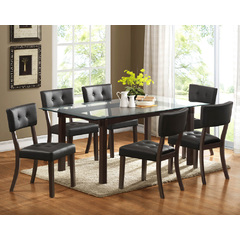 Buy Homelegance Clarity 7 Piece 72x42 Glass Top Dining Room Set in Espresso on sale online