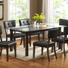 Buy Homelegance Clarity 72x42 Glass Top Dining Table in Espresso on sale online