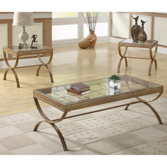Buy Homelegance Claro 3 Piece Occasional Table Set in Gold on sale online