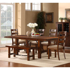 Buy Homelegance Clayton 6 Piece Dining Room Set w/ Bench in Dark Oak on sale online