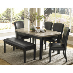 Buy Homelegance Cristo 6 Piece 64x38 Dining Room Set w/Marble Top in Black on sale online