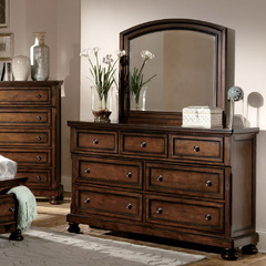 Buy Homelegance Cumberland 7 Drawer Dresser w/ Mirror in Rich Medium Brown on sale online