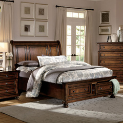 Buy Homelegance Cumberland Storage Sleigh Bed in Rich Medium Brown on sale online