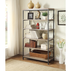 Buy Homelegance Daria 40 Inch Bookcase w/ Grey Weathered Wood Shelves on sale online