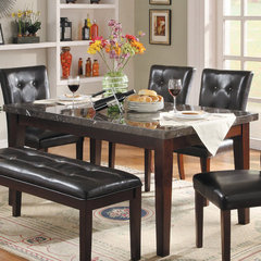Buy Homelegance Decatur Rectangular 64x38 Marble Top Dining Table in Espresso on sale online