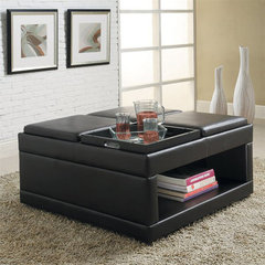 Buy Homelegance Fleming 36 Inch Square Caster Cocktail Table w/ Flip Trays in Dark Brown on sale online
