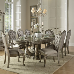 Buy Homelegance Florentina 9 Piece 84x44 Dining Room Set in Taupe Rich Silver on sale online