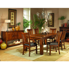 Buy Homelegance Fusion 7 Piece Dining Room Set in Burnish Dark Oak on sale online