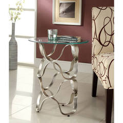 Buy Homelegance Galaxy Contemporary 18x18 Round Chrome Chairside Table on sale online