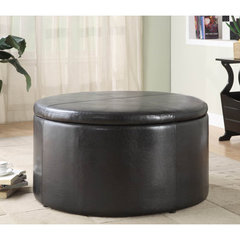 Buy Homelegance Houston 36x36 Round Storage Cocktail Table w/ 2 Kidney Ottomans on sale online