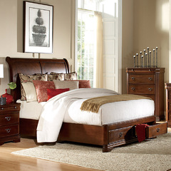 Buy Homelegance Karla Sleigh Bed w/ Storage Footboard in Luxurious Cherry on sale online