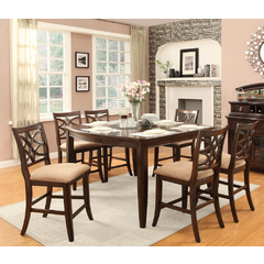 Buy Homelegance Keegan 7 Piece 60x46 Counter Height Set in Rich Brown Cherry on sale online