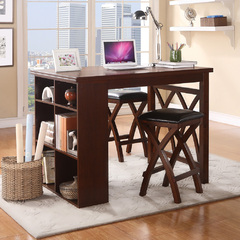 Buy Homelegance Mably 3 Piece 47x36 Counter Height Set in Warm Brown Cherry on sale online