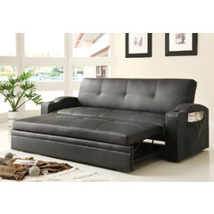 Buy Homelegance Novak Elegant Lounger w/ Pull Up Trundle in Black Bi-Cast Vinyl on sale online