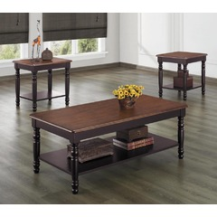 Buy Homelegance Ohana 3 Piece Occasional Table Set in Warm Cherry & Antique Black on sale online