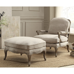 Buy Homelegance Parlier Accent Chair w/Ottoman in Grey Weathered & Natural Fabric on sale online
