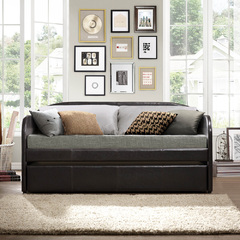 Buy Homelegance Roland Daybed w/ Trundle in Dark Brown Bi-Cast Vinyl on sale online