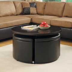 Buy Homelegance Rowley 36x36 Gas Lift Table w/ 4 Storage Ottomans in Dark Cherry on sale online