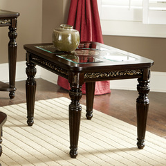Buy Homelegance Russian Hill 28x26 End Table w/ Faux Marble & Glass Top in Cherry on sale online