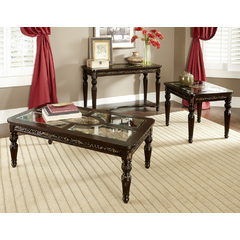 Buy Homelegance Russian Hill 3 Piece Occasional Table Set w/Glass Top in Cherry on sale online
