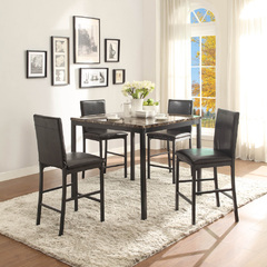 Buy Homelegance Tempe 5 Piece 40x40 Counter Height Set w/Faux Marble Top in Black on sale online