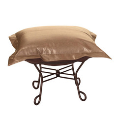 Buy Howard Elliott Avanti Bronze Scroll Puff Ottoman - Mahogany Frame on sale online