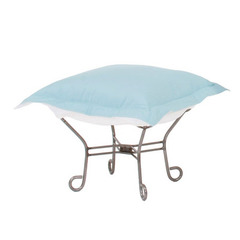 Buy Howard Elliott Seascape Breeze Scroll Puff Ottoman - Titanium Frame on sale online