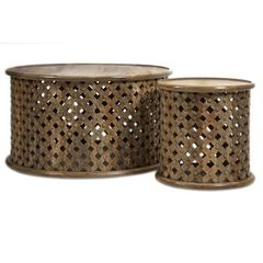 Buy IMAX Worldwide Abdalla Carved Wooden Tables in Medium Wood, Natural (Set of 2) on sale online