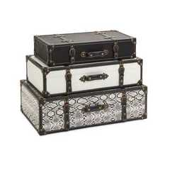 Buy IMAX Worldwide Aberdeen Storage Trunks in Black and White (Set of 3) on sale online