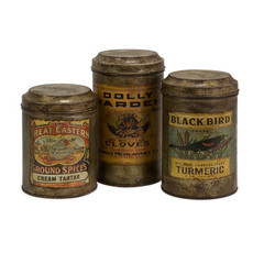 Buy IMAX Worldwide Addie Vintage Label Metal Canisters (Set of 3) on sale online