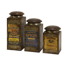 Buy IMAX Worldwide Addie Vintage Label Wood And Metal Canisters (Set of 3) on sale online