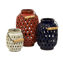Buy IMAX Worldwide Bailey Lattice Lanterns (Set of 3) on sale online