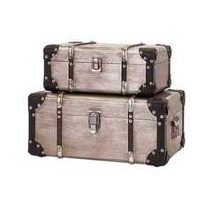 Buy IMAX Worldwide Baker Aluminum Clad Suitcases in Natural and Black (Set of 2) on sale online