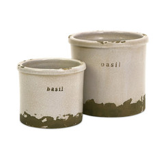 Buy IMAX Worldwide Basil Sage Pots (Set of 2) on sale online
