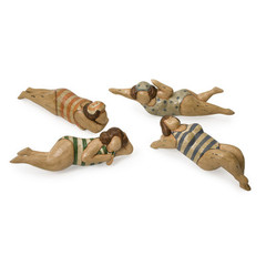 Buy IMAX Worldwide Bathing Beauties in Natural Wood (Set of 4) on sale online