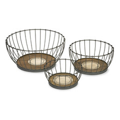Buy IMAX Worldwide Benito Wood and Metal Baskets (Set of 3) on sale online