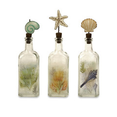 Buy IMAX Worldwide Burton Coastal Glass Bottles (Set of 3) on sale online