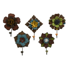 Buy IMAX Worldwide Caldwell Floral Wall Hooks (Set of 5) on sale online