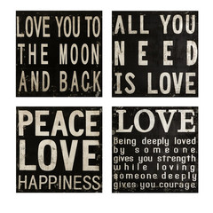 Buy IMAX Worldwide Collier Black and White Wall Quotes (Set of 4) on sale online