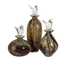 Buy IMAX Worldwide Dabney Glass Bird Stopper Bottles (Set of 3) on sale online