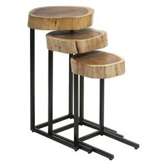Buy IMAX Worldwide Nadera Wood and Iron Nesting Tables (Set of 3) on sale online