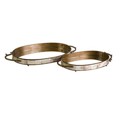 Buy IMAX Worldwide Noelle Oval Tray w/ Mirror (Set of 2) on sale online